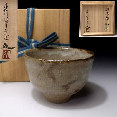XN6: Vintage Japanese Pottery Tea Bowl, Karatsu Ware with Signed wooden box