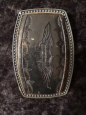 Vintage Brass/Genuine Leather Embossed Harley Davidson Belt Buckle RARE!!