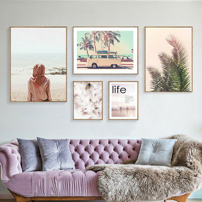 Modern Art Girl Beach Leaf Quilt Frameless Painting Wall Poster Home Decor Showy