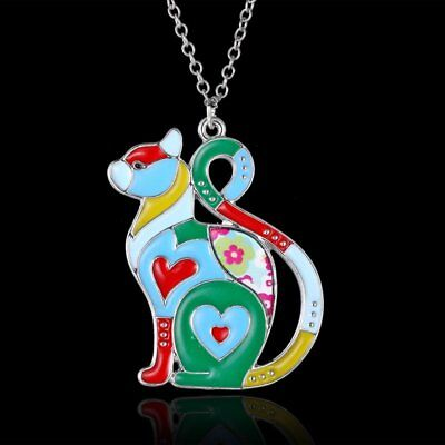 Cute Animal Love Heart Cat Charm Chain Pendant Necklace Women Lady Jewelry Gift