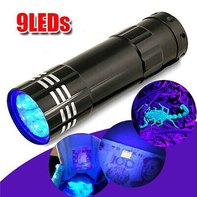 Mini Aluminum UV Ultra Violet 9 LEDs Flashlight Blacklight Torch Light Lamp Hot