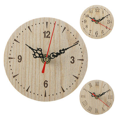 Vintage Style Wooden Round Small Wall Clock Retro Quiet Numeral Quartz Home Deco
