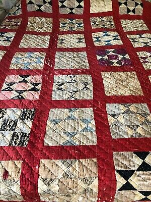 Antique  Early 1900's Hand Pieced Hand Quilted Quilt