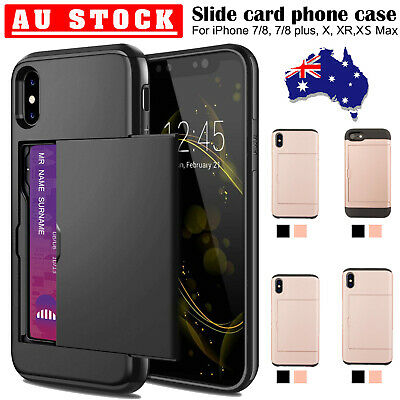 iPhone X XR XS Max 8 7 Case Slide Armor Wallet Card Slots Holder Cover for Apple