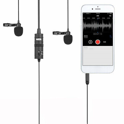 Boya BY-M1DM Dual Lavalier Head Lapel Microphone for Interview Sounds recorder