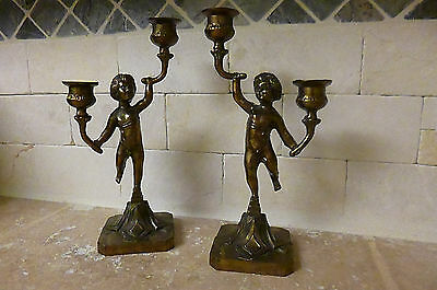 PAIR of 2 ARM Vintage Cherub Brass Bronze colored double Candlestick holders