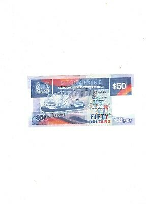 Singapore 50 dollar Blue ship Coaster Vessel  EF condition ND 1987