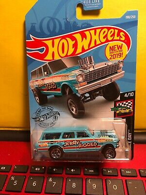 2019 Hot Wheels #198 HW Race Day '64 NOVA WAGON GASSER Jerry Rigged Aqua w/5 Sp