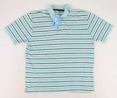 George Green Striped Cotton Mens Polo Shirt Size M