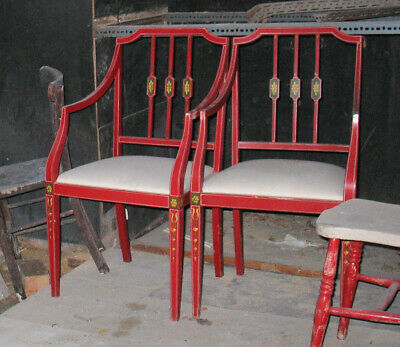 Two Red 19Thc ?  Painted Drawing Room Armchairs