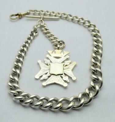 Victorian 1888 Heavy  Solid Silver Albert Pocket Watch Chain with Silver Fob.
