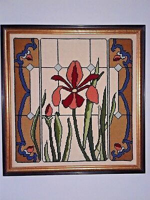 Framed Finished Needlepoint 16 Inches Square Iris Stained Glass Design