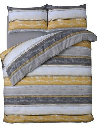 Grey Yellow Marble Effect Duvet Cover Quilt Cover Bedding Set Single Double King