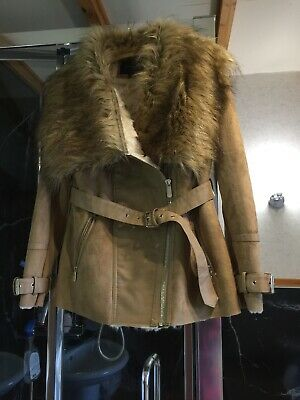 Ladies Brown Faux Suede/Leather Jacket Size 10 Ex River Island
