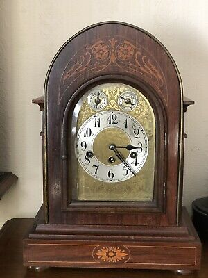 Antique Rosewood Inlaid Bracket Mantle Clock
