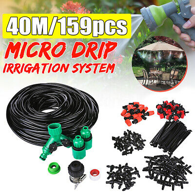 40M Micro Drip Irrigation System Kit Drippers Pipes Self Watering Plant Garden