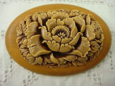 Vintage Oval Wood Brown Celluloid Deeply Carved Floral Pin Brooch