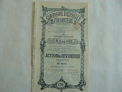 ACTIONS DE DIVIDENDE-Cie. NATIONALE FINANCIERE -S.A. - 1898