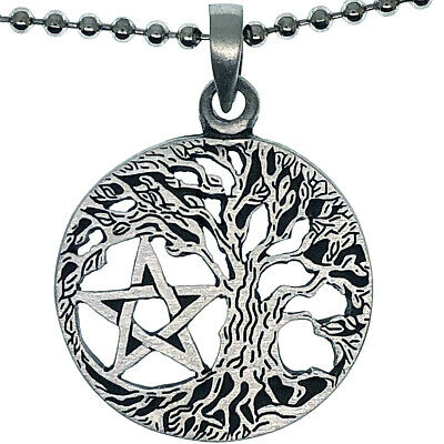 Tree of life Pentagram Pentacle Star Wicca Pagan Amulet Pewter Pendant Necklace