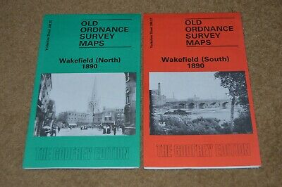 WAKEFIELD 1890 two old Ordnance Survey maps local history reprints