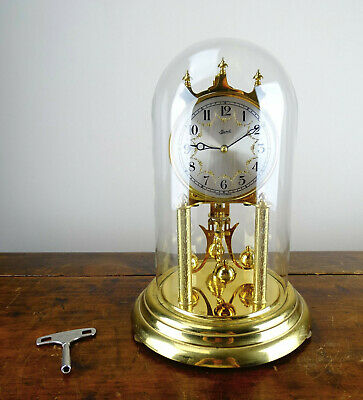German Franz Hermle Anniversary Torsion Mantel Clock 400 Day with Glass Dome