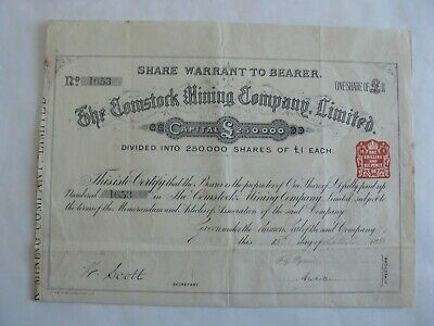 Share Warrant To Bearer -The Comstock Mining Company, Limited -1888-One Share £1