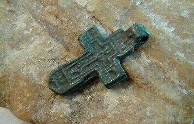 RARE ANTIQUE c. 15-17th CENTURY ORTHODOX SMALL SWORD-SHAPED CROSS PENDANT