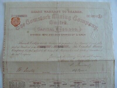Share Warrant To Beare-The Comstock Mining Company,Limited-1888-Five Of Share £1