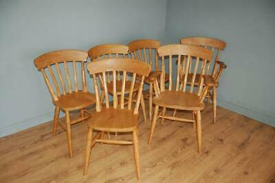 6 Pine Country Kitchen Slatted Back Kitchen Dining Chairs, 4 Chairs & 2 Carvers