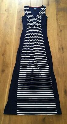 Ladies Navy & White Stripe / Nautical Maxi Dress From Joules - Size 8 In Ex Cond