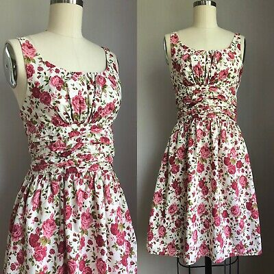 201685af16a VINTAGE 1950S SUNDRESS 50s Cherry Blossom Floral Cotton Dress Halter ...