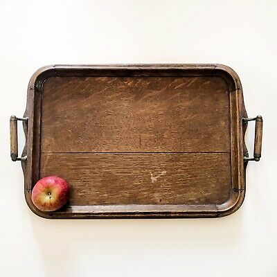 Vintage wooden serving tray old solid wood rectangular tray
