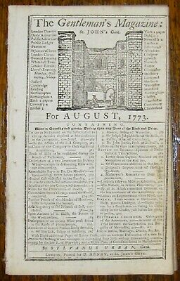 1773 GENTLEMAN'S MAGAZINE August COLONIES REVOLUTIONARY WAR CARRIAGE BRAKES