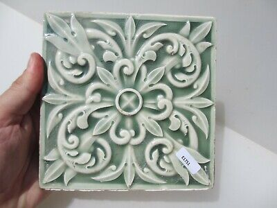 Victorian Ceramic Tile Architectural Vintage Floral Flower Gilt Leaf Art Nouveau
