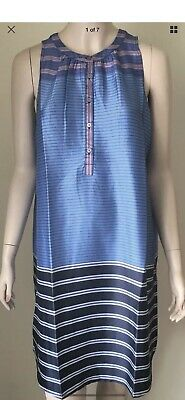 b78babafe91d7 Medium Ann Taylor Loft Sleeveless Maternity Stripe Henley Swing Dress 74.50