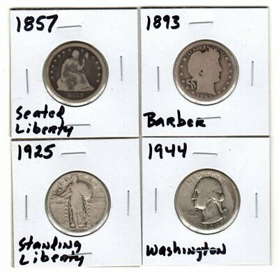 4 Different 90% Silver Quarters Seated & Standing  Liberty Barber Washington