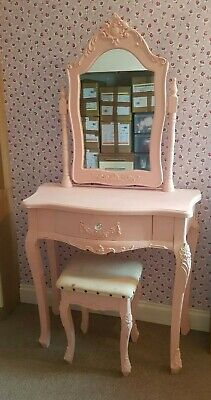 Vintage French Style Shabby Chic Girl's Pink Dressing Table Painting Project