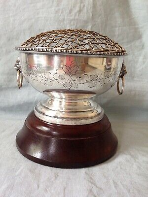 Vintage silver plated trophy Rose bowl cup, Lion Heads Wood Base Not Engraved