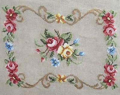 """Needlepoint canvas FLORAL Monica Imports Roses 17"""" x 21""""  Preworked Design NWT"""