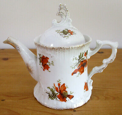 Pretty Little Vintage China 0.75pint/426ml Teapot with Poppy Decoration