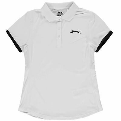 Slazenger Court Polo Shirt Junior Girls White Tops T-Shirt Outerwear