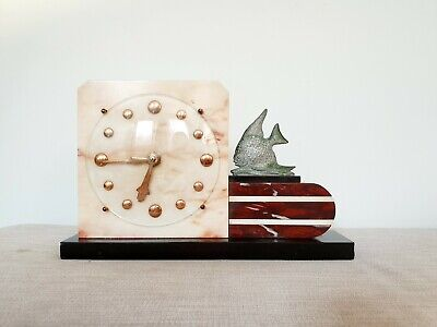 STUNNING 1930s FRENCH ART DECO CLOCK MARBLE & SPELTER MANTLE CLOCK FISH WORKING