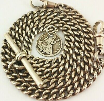 Antique Hallmarked Solid Silver Double Albert Pocket Watch Chain W Coin Fob