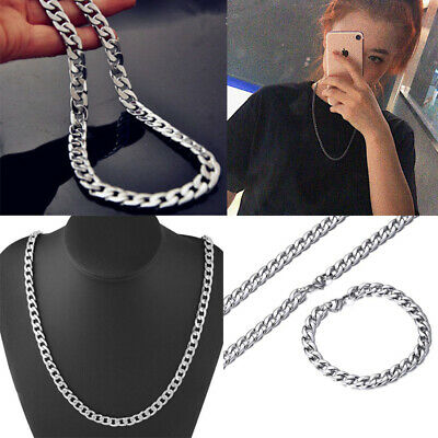"Men's Boy  24"" Stainless Steel Silver Figaro Hexagon Curb Chain Necklace Jewelry"
