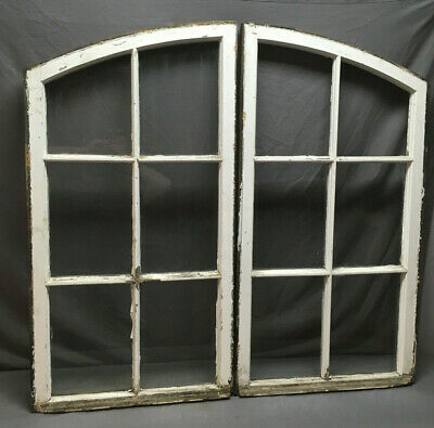 Antique Pair Semi Arch Casement Window Sash Shabby Vintage Chic Factory 230-19L