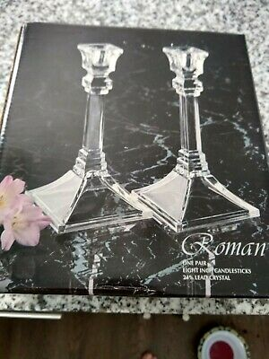 "Toscany COLLECTION LEAD CRYSTAL CANDLESTICKS NIB 8"" ART DECO STYLE"
