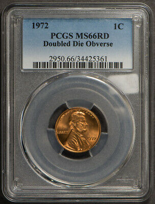 1972 1c LINCOLN MEMORIAL CENT, DOUBLED DIE OBVERSE *PCGS MS66RD* LOT#L648