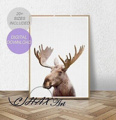 Moose Print.Nursery Wall Art.Woodland Decor.Animal Prints.Wall Poster.018