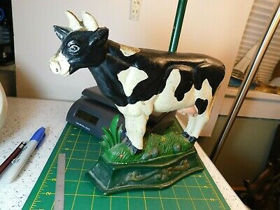 7lbs 3.0oz Vtg. Antique? Holstein Cow Door Stop with Screw-in Carry Handle 11x27