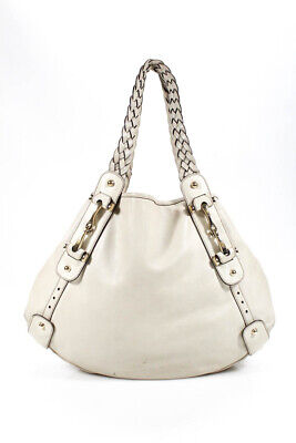 7f39f64680d4 Gucci Womens Leather Gold Tone Braided Straps Pelham Tote Shoulder Handbag  Beige